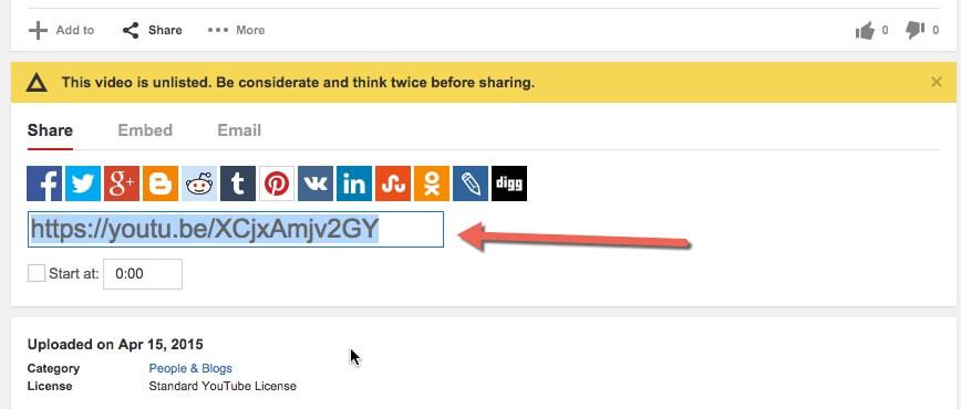 Youtube Sharable URL