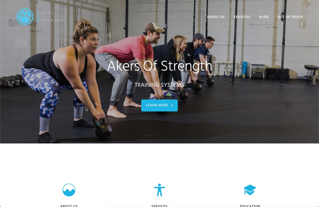 Image of the Akers of Strength website